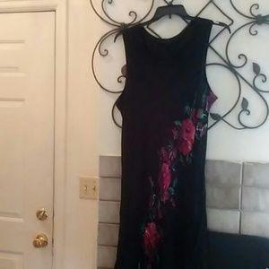 Black Max Dress with flower details